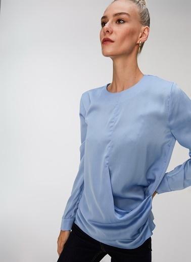 People By Fabrika Bel Detaylı Saten Bluz Mavi